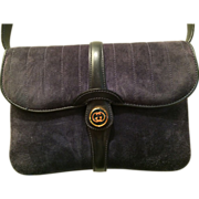 Charcoal Suede Authentic Gucci Clutch/Purse Removable Strap - Mint Condition