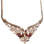 Vintage1951  Crown TRIFARI Gold-Tone Crystal Rhinestone Collar Necklace Pendant