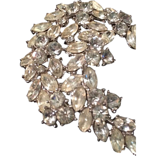 Vintage Crown Trifari Rhinestone Crescent Statement Brooch