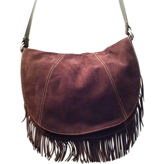 Vintage Ralph Lauren Chaps Suede Shoulder Bag with Fringe Never Used Brand New Without Tags