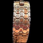 Vintage Crown Trifari Honeycomb Bracelet - Signed