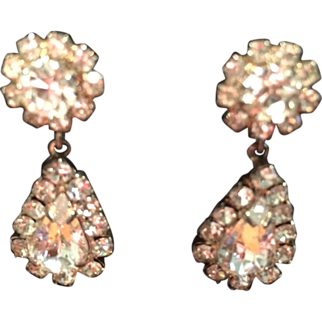 Vintage Rhinestone Pierced Dangle Earrings