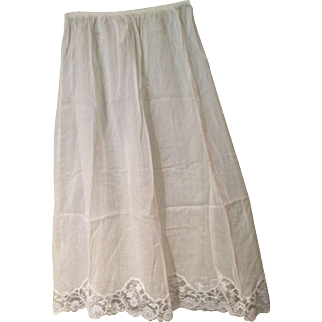1950's Cotton Half-Slip with Lace Trim