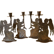 Vintage Brass Angel Candle Holders - Set of 4