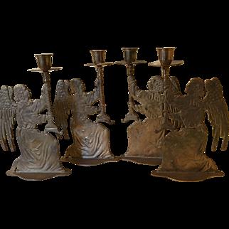 Vintage Brass Angel Candle Holders - Set of 4
