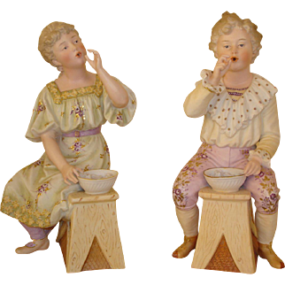 "Antique Heubach ""Blowing Bubbles"" Figurine Pair - Circa 1900, Large 12"""