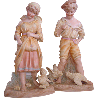 """Heubach Figurines-Boy and Girl with Chickens-Large 12"""" pair, Circa 1900"""
