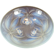French Opalescent Footed Console Bowl by G. Vallon Three Cherries