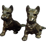 Pair of Solid Bronzed Cast Iron Hubley Scotties Scottish Terriers Doorstops Bookends Paperweights
