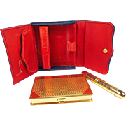 Extremely Rare Coty Compact in Original Case with Tube that Contains Lipstick and Perfume