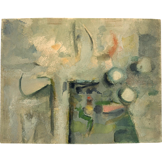 Mid Century Abstract Watercolor by Corban Lepell, circa 1955