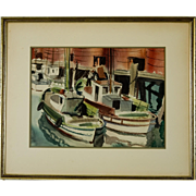 Signed Mid-Century Watercolor, San Francisco Fishing Boats at Wharf