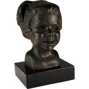 Large Bronze Bust of a Child