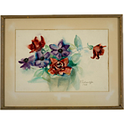 Signed Mid-Century Floral Watercolor, Circa 1962