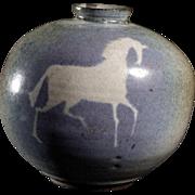 Signed 20th Century Ceramic Vase Featuring an Equestrian Motif