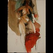 Jack Laycox Watercolor and Graphite Nude Figure Study, Circa 1970's