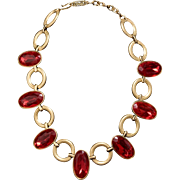 Fabulous Vintage YSL Faux Ruby Necklace