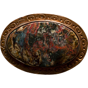 Vintage Jasper and Hammered Copper Belt Buckle
