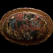 Vintage Jasper and Hammered Copper Belt Buckle