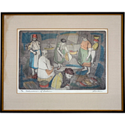 "Original Etching by Irving Amen, ""Fisherwomen of Lisbon"""