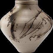 Signed Horsehair Ceramic Vase