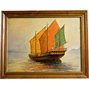 Vintage Oil Painting, Chinese Junk in the Manner of Anton Otto Fischer