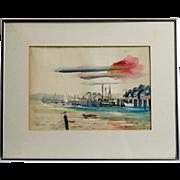 Bill Richardson, California Artist, Harbor Scene Watercolor,