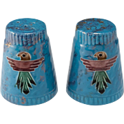 Vintage 1950's Loma of Arizona Pottery Thunderbird Salt and Pepper Shakers
