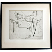 "Mid Century Etching ""Woodscape"", Signed Marcus, 1956"