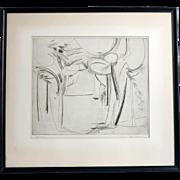 "Mid Century Etching ""Woodscape"", Signed Marcus, 1956"