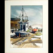 20th Century California Impressionist Watercolor