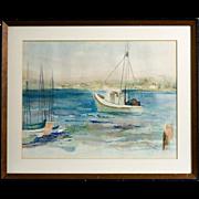 Mid Century California Watercolor, signed Maris