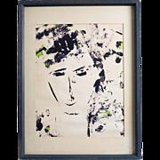 Bay Area Abstract Expressionist Silkscreen Portrait, Circa 1970's