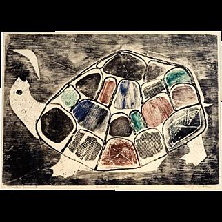 """Mid Century Etching by Betye Saar, """"Turtle's Lament"""", 1960"""