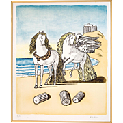 "Original Lithograph ""Horses on a Beach"", by Giorgio de Chirico"