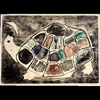 """Original Etching by Betye Saar, """"Turtle's Lament"""", 1960"""