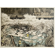 Original Vintage Polychrome Etching, Lily Pond
