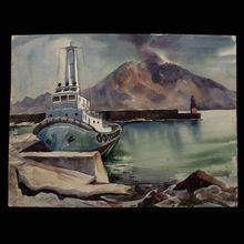 Californian artist Charles Frederick Surendorf  (1906 - 1979) Marine Watercolor
