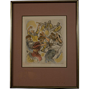 "Mid-Century Lithograph by Ira Moskowitz , ""Hassidic Dance"""