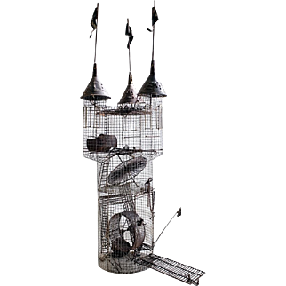 """Hobart Brown, (American, 1934 –2007) , Metal Sculpture """"Hamster Cage, For Emily"""",  circa 1970's"""