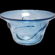 """Vintage  Fused glass Bowl, signed """"GV"""""""