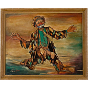 Mid Century Clown Painting by Thelma Hansen