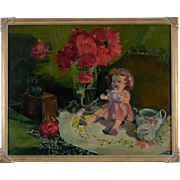 Nancy Seamons Crookston Oil Painting, Still Life With Doll