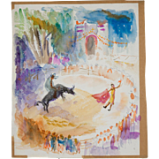 Mid Century Watercolor by David Landis (1918-1983), Bullfight