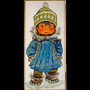 Joan Arend Kickbush Eskimo Child Watercolor, Mid Century