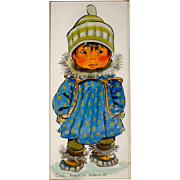 Joan Arend Kickbush Eskimo Child Watercolor, Mid Century