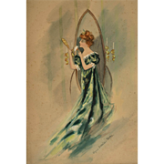 Original WatercolorFashion Illustration by Virginia Battaile Battle Betts  (1880 - 1942)