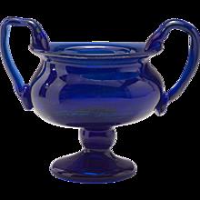 Vintage 1970's Cobalt and Silver Oxide Glass Urn Vase