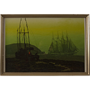 "Mid Century Serigraph by Elton Bennett, ""The Offshore Wind"""