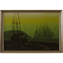 """Mid Century Serigraph by Elton Bennett, """"The Offshore Wind"""""""